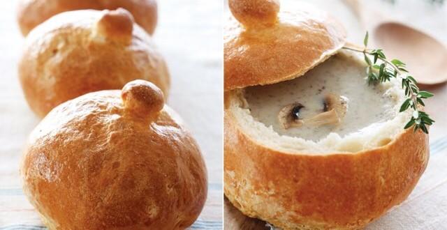 Суп грибной в хлебе