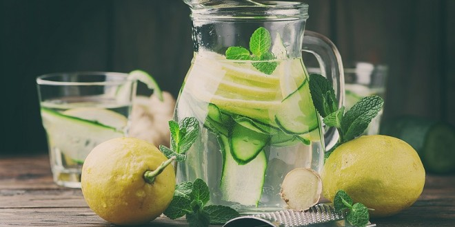 Water with lemon, cucmber and ginger