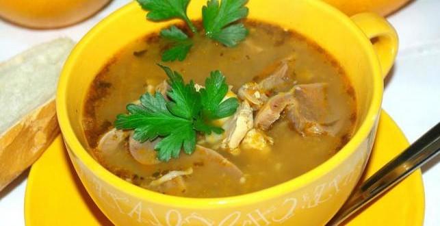 суп патрохами и грибами